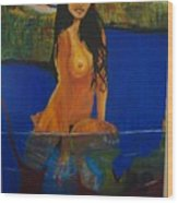 Underwater Woman Wood Print