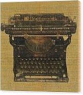 Underwood Typewriter On Text Wood Print