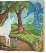 Unicorn And Dragon And Fairies And Elves - Illustration #9 In The Infinite Song Wood Print