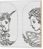Unicorn And Fairy Cameo Set Wood Print