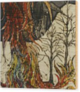 Unicorn And Phoenix Wood Print