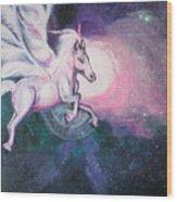 Unicorn And The Universe Wood Print