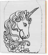 Unicorn Cameo Wood Print