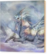 Unicorn Of Peace Card Wood Print