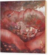 Unicorn Of The Poppies Wood Print