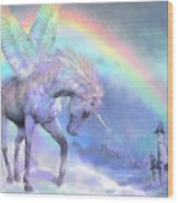 Unicorn Of The Rainbow Wood Print
