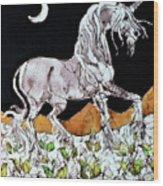 Unicorn Over Flower Field Wood Print