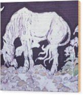 Unicorn Pauses Wood Print