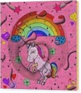 Unicorn Popart By Nico Bielow Wood Print
