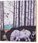 Unicorn Rests In The Forest With Fox And Bird Wood Print