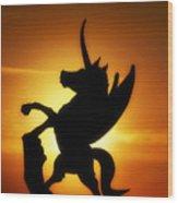 Winged Unicorn Sentinel  Wood Print