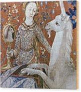 Unicorn Tapestry, 15th C Wood Print