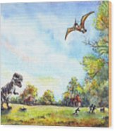 Uninvited Picnic Guests Wood Print