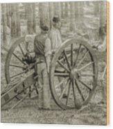 Union Cannon Civil War Sepia Version Wood Print