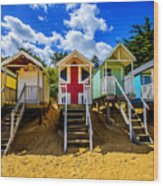 Union Jack Beach Hut 2 Wood Print