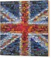Union Jack Flag Mosaic Wood Print