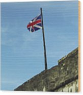 Union Jack Over The Castillo Wood Print