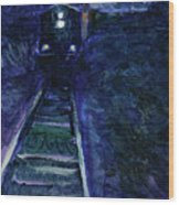 Union Pacific At Night Wood Print