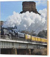 Union Pacific Steam Engine 844 And Castle Rock Wood Print