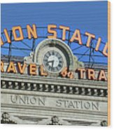 Union Station Sign Wood Print