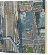 Union Station Train Yard Toronto From The Cn Tower Wood Print