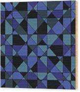 Unique Bold Hip Blue Cyan Grey Black Geometric Pattern Wood Print