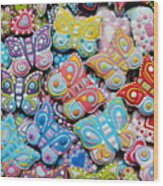 Unique Colorful Honey Cookies , Butterfly Shaped  Wood Print