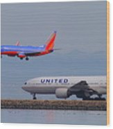 United Airlines And Southwest Airlines Jet Airplane At San Francisco International Airport Sfo.12087 Wood Print