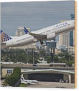 United Airlines Wood Print