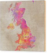 United Kingdom Map Wood Print