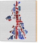 United Kingdom Typographic Kingdom Wood Print