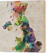 United Kingdom Watercolor Map Wood Print by Michael Tompsett