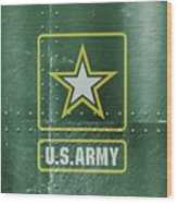 United States Army Logo On Green Steel Tank Wood Print