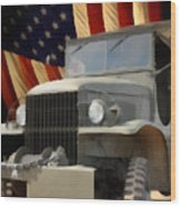 United States Army Truck And American Flag  Wood Print