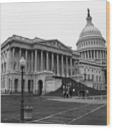 United States Capitol Building 2 Bw Wood Print