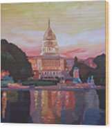 United States Capitol In Washington D.c. At Sunset Wood Print