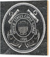 United States Coast Guard Emblem Polished Granite Wood Print