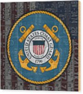 United States Coast Guard Logo Recycled Vintage License Plate Art Wood Print