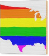 United States Gay Pride Flag Wood Print