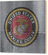 United States Marines Logo On Riveted Steel Wood Print