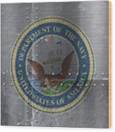 United States Navy Logo On Riveted Steel Boat Side Wood Print