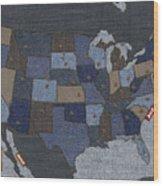 United States Of Denim Wood Print