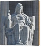 United States Supreme Court, The Contemplation Of Justice Statue, Washington, Dc 3 Wood Print