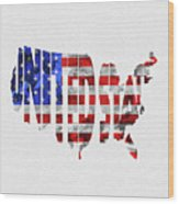 United States Typographic Map Flag Wood Print