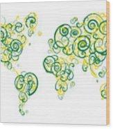 University Of Alberta Colors Swirl Map Of The World Atlas Wood Print