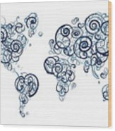 University Of British Colombia Colors Swirl Map Of The World Atl Wood Print