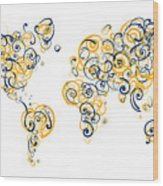 University Of California Berkeley Colors Swirl Map Of The World  Wood Print