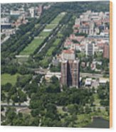 University Of Chicago Booth School Of Business And Midway Plaisance Park Aerial Photo Wood Print