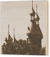 University Of Tampa Minarets With Old Postcard Framing Wood Print