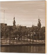 University Of Tampa With River - Sepia Wood Print